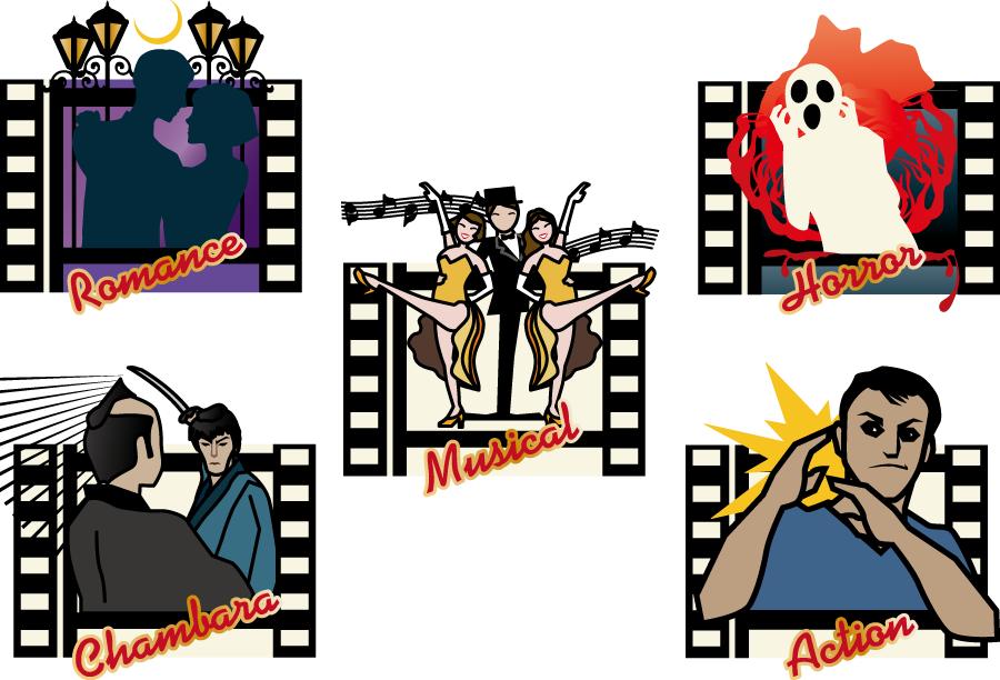 フリーイラスト 恋愛映画など5種類の映画のセット