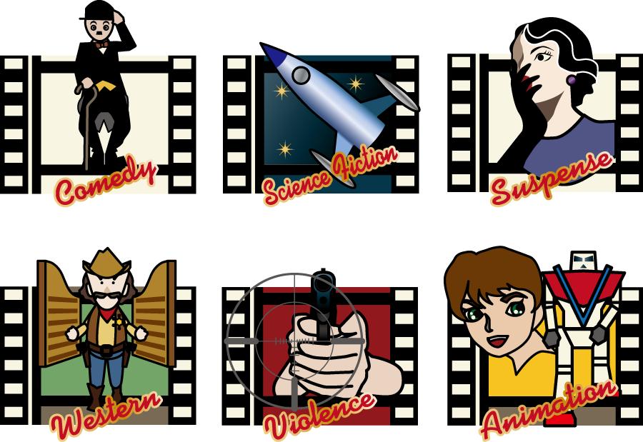 フリーイラスト コメディ映画などの6種類の映画のセット