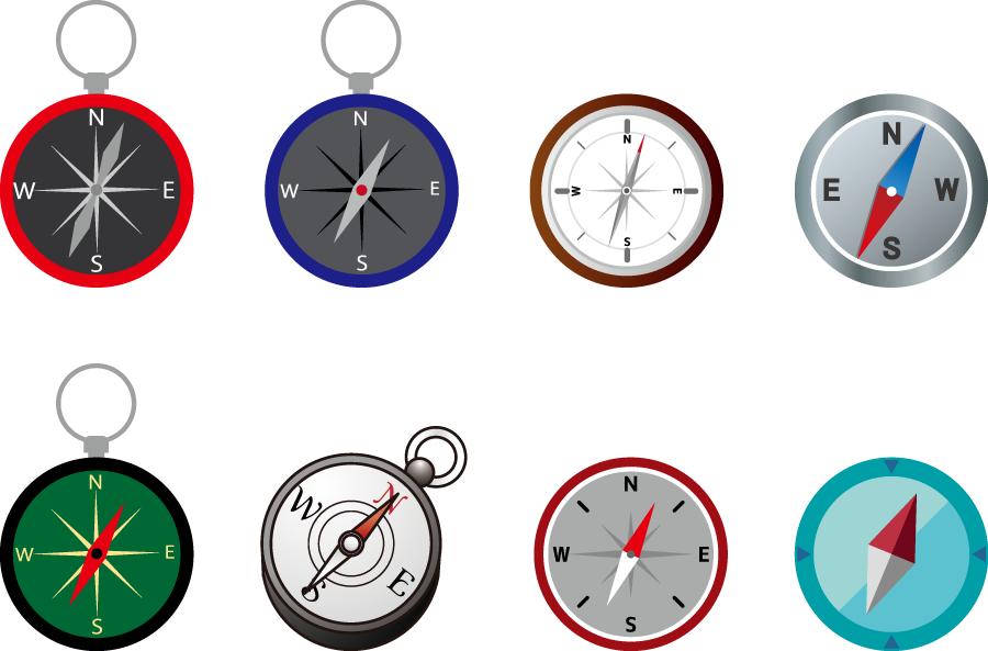 フリーイラスト 8種類の方位磁石のセット