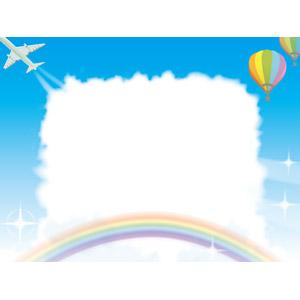 フリーイラスト, ベクター画像, AI, 背景, フレーム, 囲みフレーム, 空, 青空, 雲, 虹, 熱気球, 飛行機, 旅客機