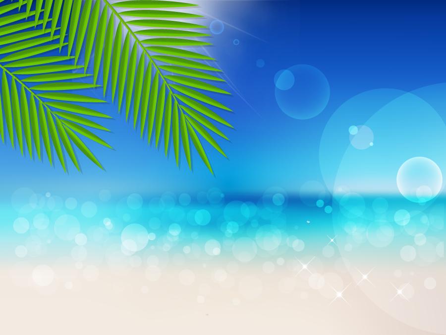 フリーイラスト ヤシの葉とビーチの風景