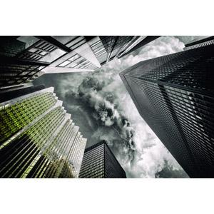 フリー写真, 風景, 建造物, 建築物, 高層ビル, 積乱雲(入道雲), 雲, 落雷(カミナリ), カナダの風景, トロント