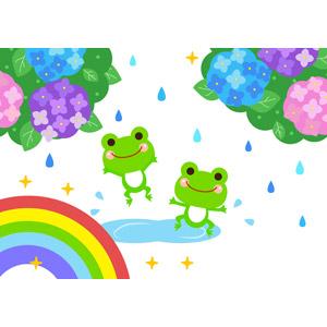 フリーイラスト, ベクター画像, AI, 梅雨, 6月, 虹, 雨, 天気, 紫陽花(アジサイ), 動物, 両生類, 蛙(カエル), 喜ぶ(動物)