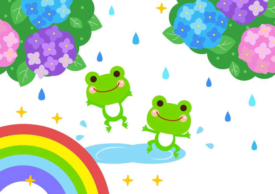 フリーイラスト 紫陽花と虹と雨を喜ぶ蛙の背景