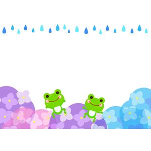 フリーイラスト, ベクター画像, AI, 背景, フレーム, 上下フレーム, 梅雨, 6月, 雨, 紫陽花(アジサイ), 蛙(カエル)