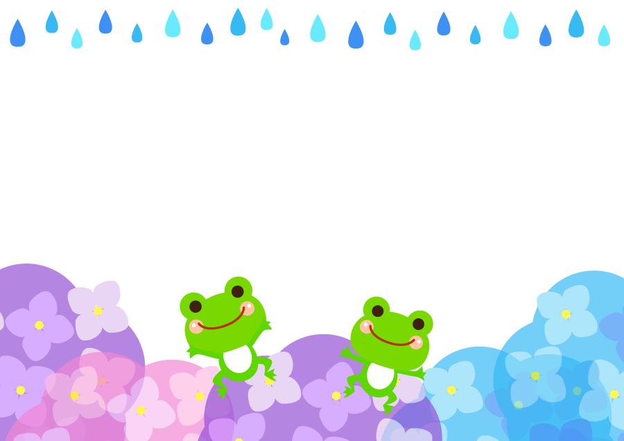 フリーイラスト 雨とアジサイとカエルの飾り枠