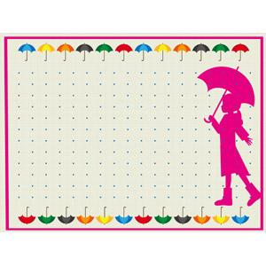 フリーイラスト, ベクター画像, AI, 背景, フレーム, 上下フレーム, 梅雨, 6月, 傘, シルエット(人物), 女の子, カラフル