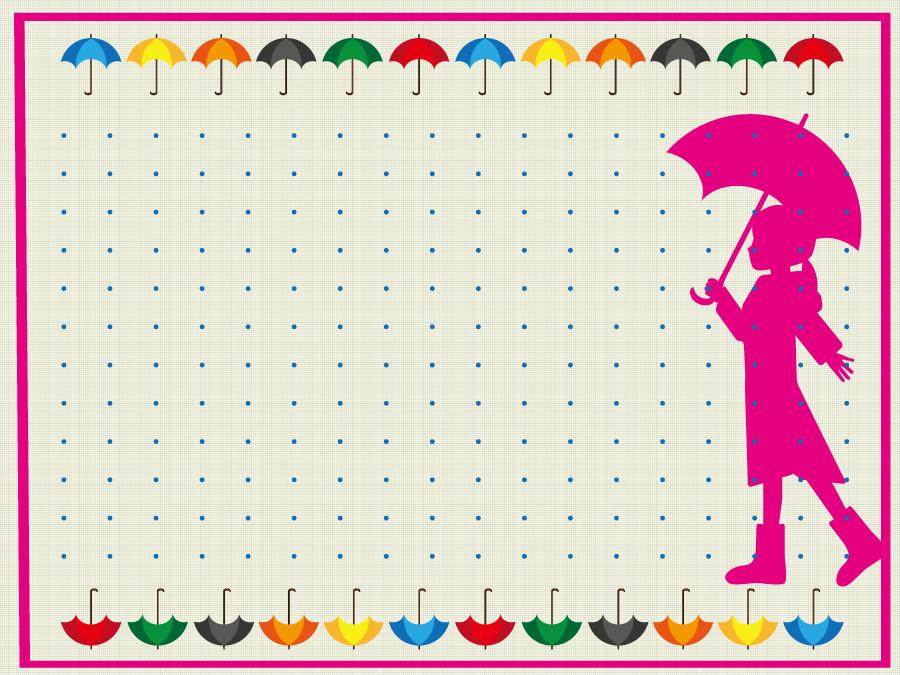 フリーイラスト 傘と傘を差す女の子のフレーム