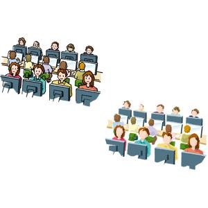 フリーイラスト, ベクター画像, AI, 人物, 集団(グループ), 学校, パソコン(PC), ディスプレイ(モニタ), ネットカフェ, パソコン教室, 授業
