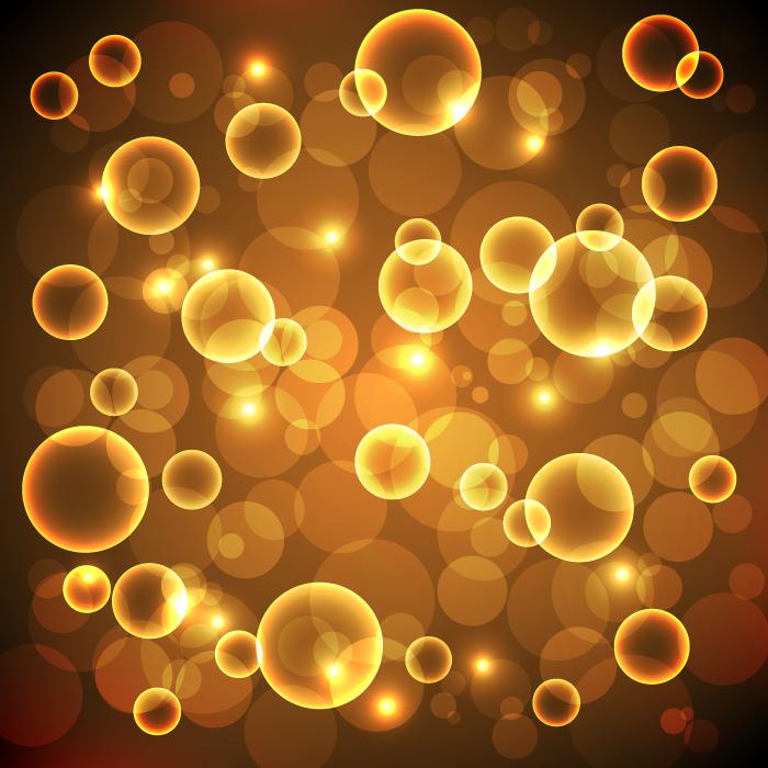 フリーイラスト オレンジ色の光の玉の背景