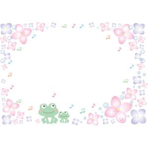 フリーイラスト, ベクター画像, AI, 背景, フレーム, 囲みフレーム, 梅雨, 6月, 紫陽花(アジサイ), 動物, 両生類, 蛙(カエル), 音符
