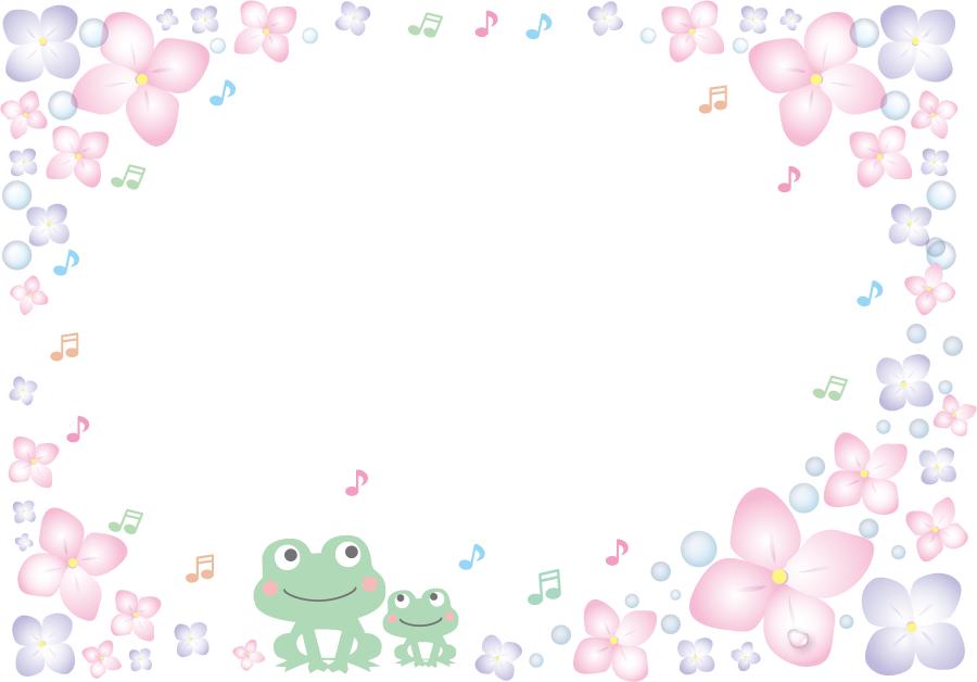フリーイラスト 紫陽花と歌うカエルのフレーム