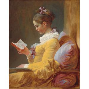 フリー絵画, ジャン・オノレ・フラゴナール, 人物画, 女性, 外国人女性, 読む(読書), 本(書籍), 横顔
