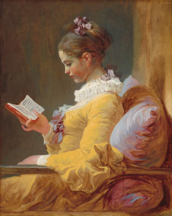 フリー絵画 ジャン・オノレ・フラゴナール作「本を読む女」
