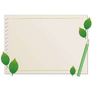 フリーイラスト, ベクター画像, AI, 背景, フレーム, 囲みフレーム, 画用紙, 植物, 葉っぱ, 色鉛筆