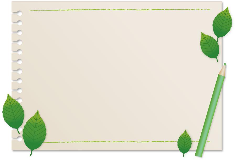 フリーイラスト 画用紙と葉っぱと色鉛筆のフレーム
