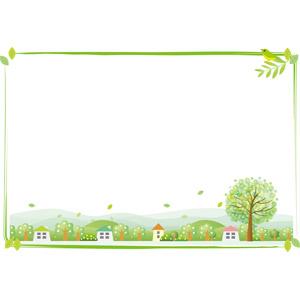 フリーイラスト, ベクター画像, AI, 背景, フレーム, 囲みフレーム, 田舎, 新緑, 葉っぱ, 樹木, 家(一軒家), 村, 小鳥