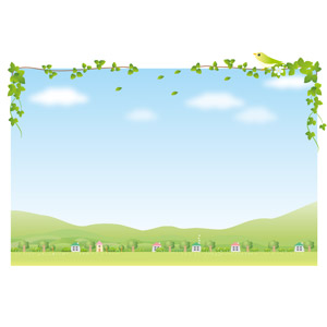 フリーイラスト, ベクター画像, AI, 背景, 田舎, 家(一軒家), 村, 山, 樹木, 青空, 蔦(ツタ), 小鳥