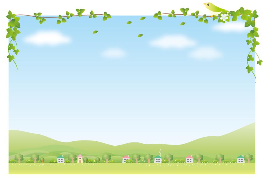 フリーイラスト 青空とのどかな田舎の背景