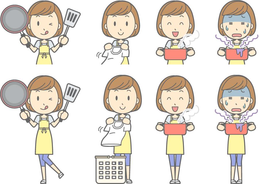 フリーイラスト 料理を作るなど8種類の主婦のセット