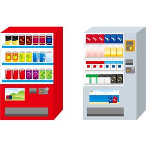 フリーイラスト, ベクター画像, EPS, 自動販売機, 機械, 飲み物(飲料), ジュース, コーヒー(珈琲), 緑茶(日本茶), 煙草(タバコ)