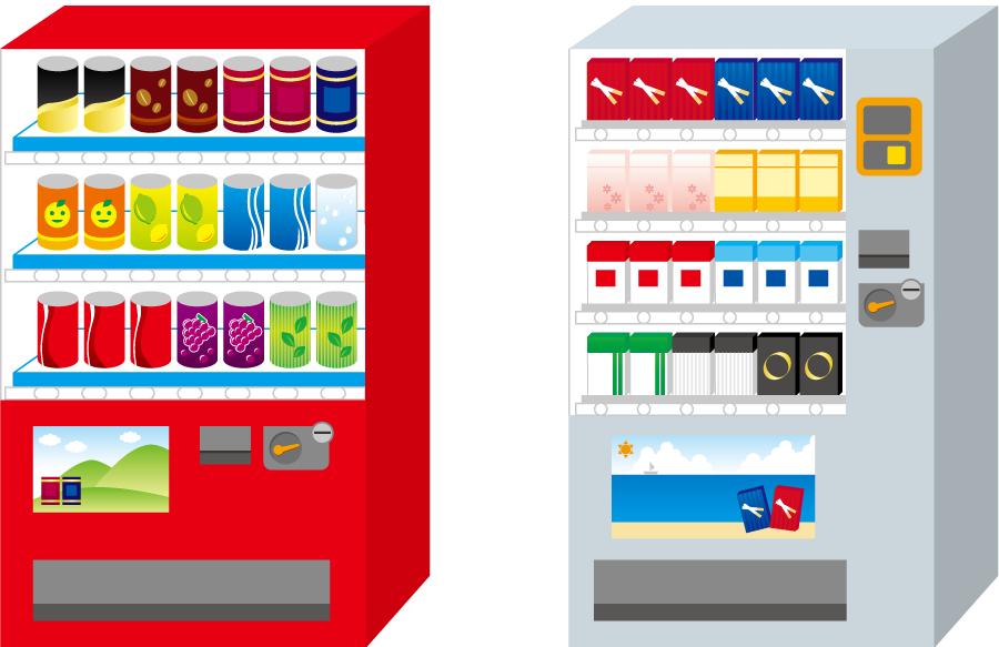 フリーイラスト ジュースとタバコの自動販売機のセット