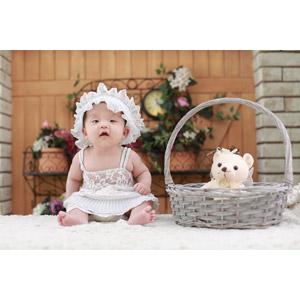 フリー写真, 人物, 子供, 赤ちゃん, ぬいぐるみ, テディベア, 中国人