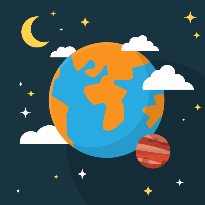 フリーイラスト 地球と火星と三日月