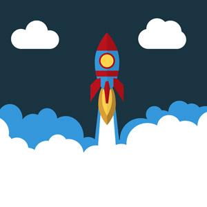 フリーイラスト, ベクター画像, AI, 乗り物, ロケット, 宇宙船, 煙(スモーク)