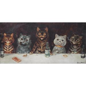 フリー絵画, 動物画, 哺乳類, 猫(ネコ), バチェラー・パーティー, 煙草(タバコ)