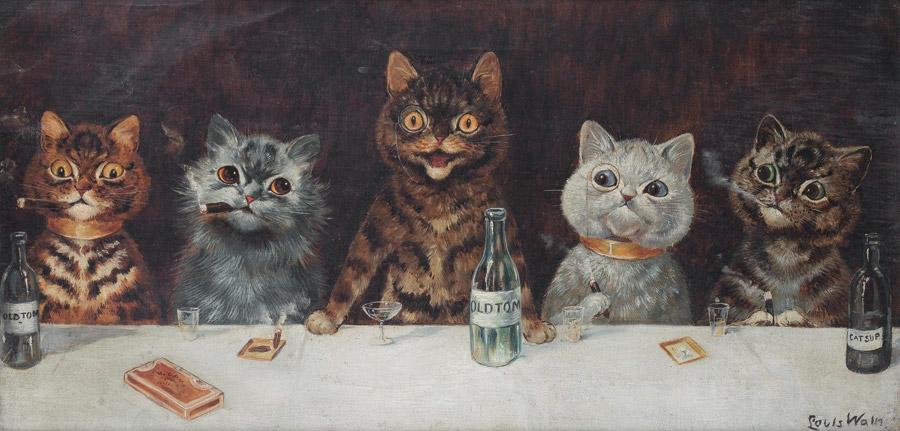 フリー絵画 ルイス・ウェイン作「バチェラー・パーティー」