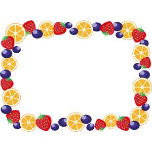 フリーイラスト, ベクター画像, AI, 背景, フレーム, 囲みフレーム, 食べ物(食料), 果物(フルーツ), オレンジ, 苺(イチゴ), ブルーベリー