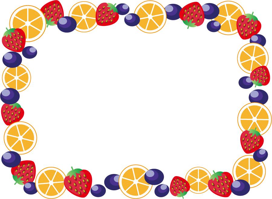 フリーイラスト オレンジとブルベリーとイチゴのフレーム