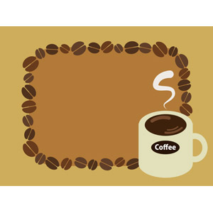 フリーイラスト, ベクター画像, AI, 背景, フレーム, 囲みフレーム, 飲み物(飲料), コーヒー(珈琲), コーヒー豆