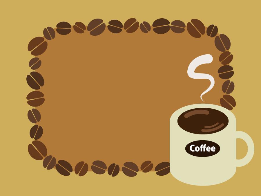 フリーイラスト コーヒーとコーヒー豆の飾り枠