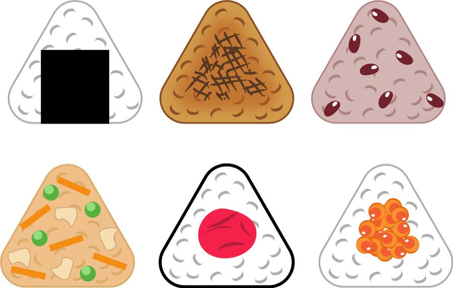 フリーイラスト 6種類のおむすびのセット
