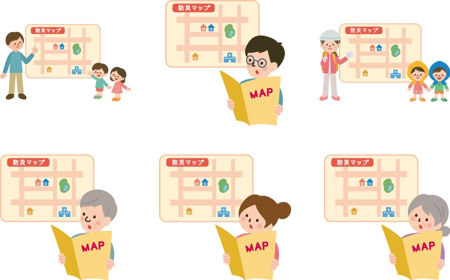 フリーイラスト 6種類の防災マップを確認する人々のセット