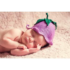 フリー写真, 人物, 子供, 赤ちゃん, 帽子, 寝る(寝顔)