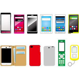 フリーイラスト, ベクター画像, AI, 携帯電話, スマートフォン(スマホ), 電話, ガラパゴス携帯(ガラケー), ポケットベル(ポケベル)
