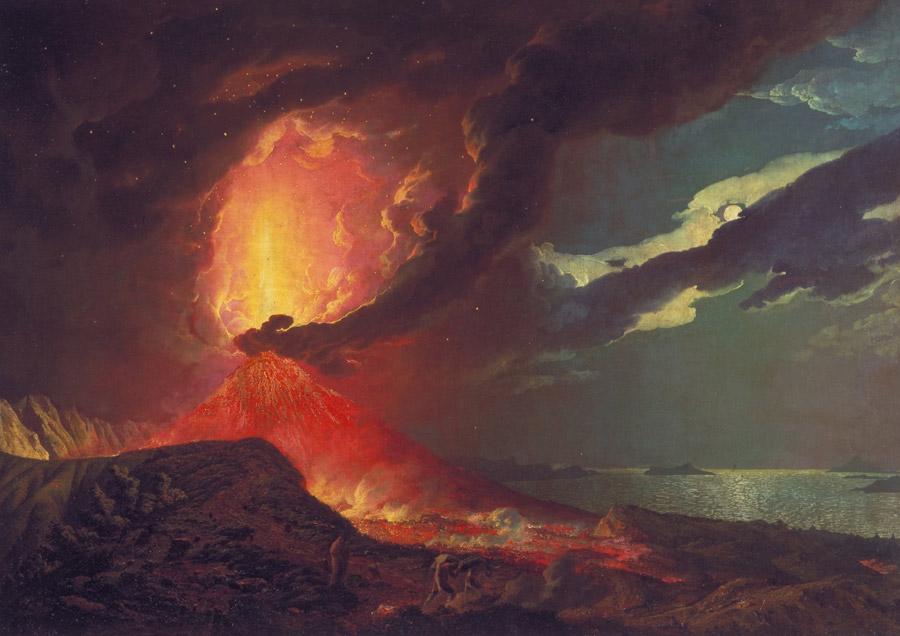フリー絵画 ジョセフ・ライト作「ナポリ湾の島々が見えるヴェスヴィオ火山の噴火」