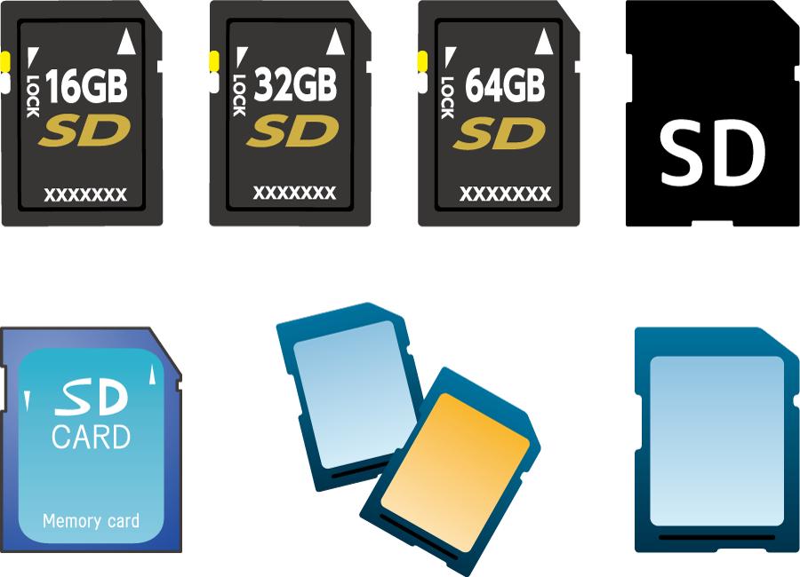 フリーイラスト 7種類のSDカードのセット