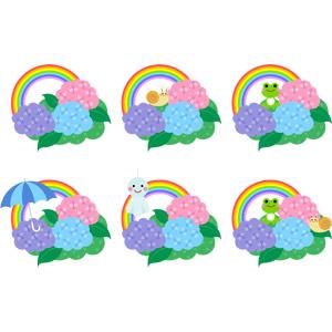 フリーイラスト, ベクター画像, AI, 6月, 梅雨, 植物, 花, 紫陽花(アジサイ), 虹, 傘, てるてる坊主, カタツムリ, 蛙(カエル)