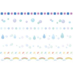 フリーイラスト, ベクター画像, AI, 飾り罫線(ライン), 梅雨, 6月, 紫陽花(アジサイ), 虹, 傘, 水滴(雫), 水玉模様(ドット柄)
