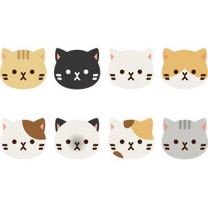 フリーイラスト, ベクター画像, EPS, 動物, 哺乳類, 猫(ネコ), 動物の顔, 黒猫, 白猫, 三毛猫