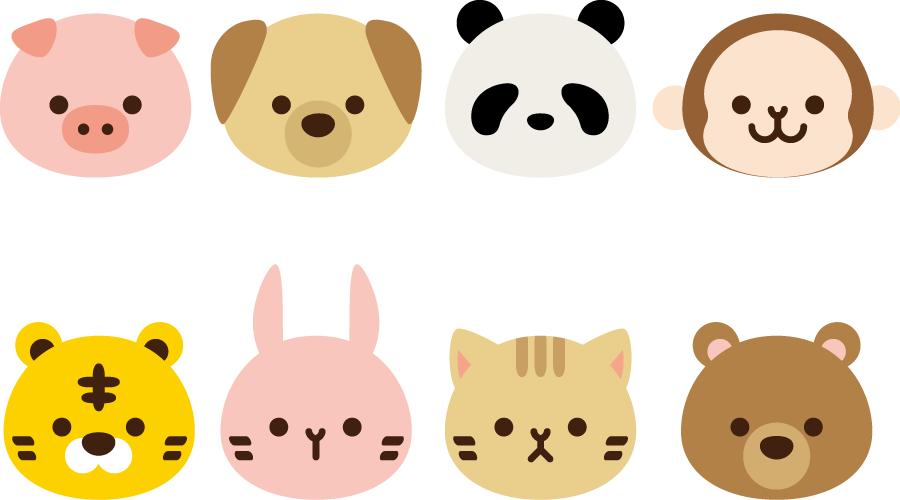 フリーイラスト 8種類の動物の顔のセット