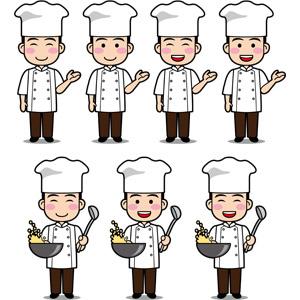 フリーイラスト, ベクター画像, EPS, 人物, 男性, 職業, 仕事, コック(シェフ), 料理人(調理師), 中華料理人, 案内する, 調理, 中華鍋, 炒飯(チャーハン)