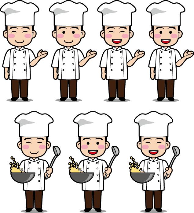 フリーイラスト 7種類の中華料理人のセット