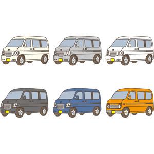 フリーイラスト, ベクター画像, AI, 乗り物, 自動車, 軽自動車, ワンボックスカー, 本田技研工業, ホンダ・バモスホビオ, ホンダ・ポケットバン