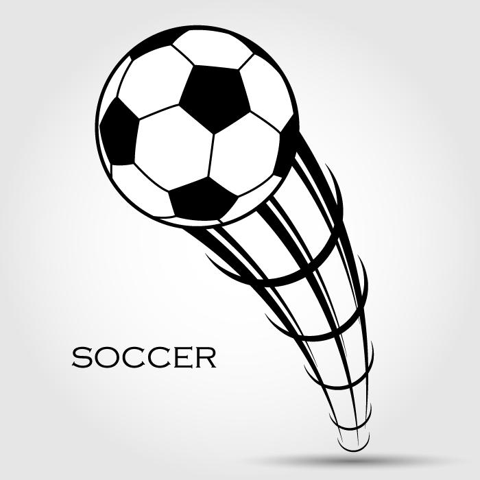 フリーイラスト 蹴られたサッカーボールの背景