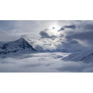 フリー写真, 風景, 自然, 山, 雲, 雲海, アイガー, アルプス山脈, スイスの風景